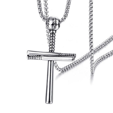 Athletes Cross Necklace ,Baseball and Baseball Bat Cross Necklace,Athletes Cross Pendant for Men ( Silver ) - amlion