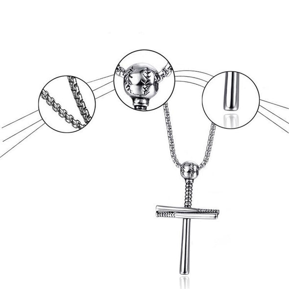 Athletes Cross Necklace ,Baseball and Baseball Bat Cross Necklace,Athletes Cross Pendant for Men ( Black ) - amlion