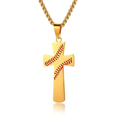 Baseball Cross Necklaces,Stainless Steel Sport Necklace with Chain,Cross Pendant Necklace for Men ( Gold ) - amlion
