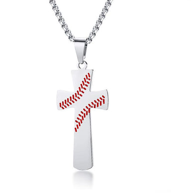 Baseball Cross Necklaces,Stainless Steel Sport Necklace with Chain,Cross Pendant Necklace for Men ( Silver ) - amlion