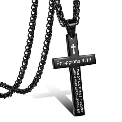 Cross Necklace, Bible Verse Philippians 4:13 Cross Pendant Necklace for Men,Stainless Steel Neckalce (Black) - amlion