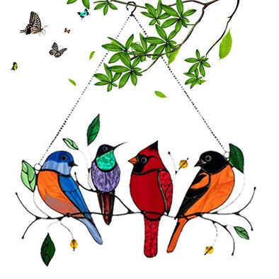 Multiple Birds on a Wire High Stained Glass Suncatcher Window Hanging Ornaments for Mother's Day-4 Birds