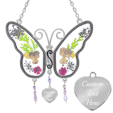 Custom Butterfly Suncatcher, Personalized Sun Catcher with Pressed Flower Wings for Windows, Gift for Mom,Mothers Day