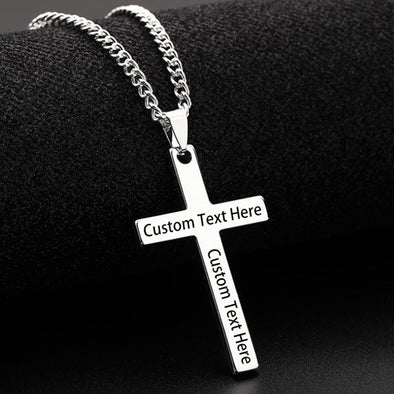 Custom Cross Necklace,Personalized Engraved Pendant Necklace for Men,Silver