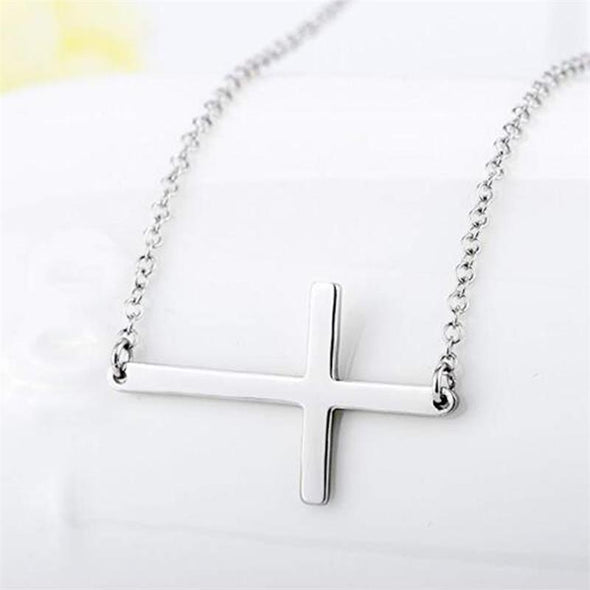 Cross Necklace for Men,Sideways Cross Pendant Necklace for Woman, Gift for Christmas, Thanksgiving - amlion
