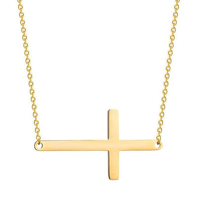 Cross Necklace for Woman,Sideways Cross Pendant Necklace for Men, Stainless Steel Jewelry - amlion