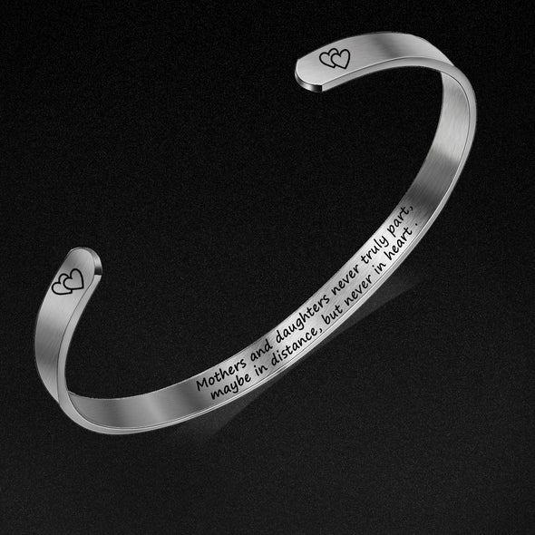 Inspirational Bracelets for Women Mom ,Engraved Cuff Bangle Bracelet for Mother's Day - amlion