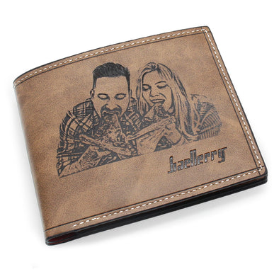 Custom Engraved Wallet, Personalized Photo Men Wallets for Dad Boyfriend Son Him Brown