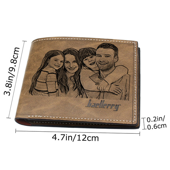 Men Photo Custom Engraved Wallet, Personalized Wallets for Dad Boyfriend Son Him Brown
