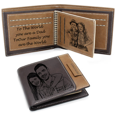 Custom Men's Photo Wallet with RFID Blocking, Personalized Fathers Day Wallet Dark Brown