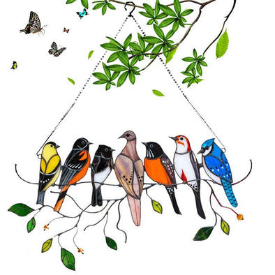 Multicolor Birds on a Wire High Stained Glass Suncatcher Window Hanging Ornaments for Mother's Day-7 Birds