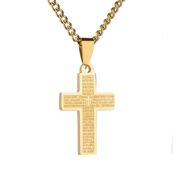 Cross Necklace,Stainless Steel Mens Womens Cross Pendant,Prayer Necklace (Gold) - amlion