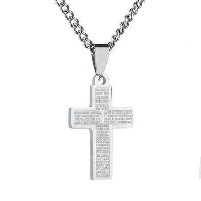 Cross Necklace,Mens Womens Cross Pendant,Prayer Cross Stainless Steel Necklace (Silver) - amlion