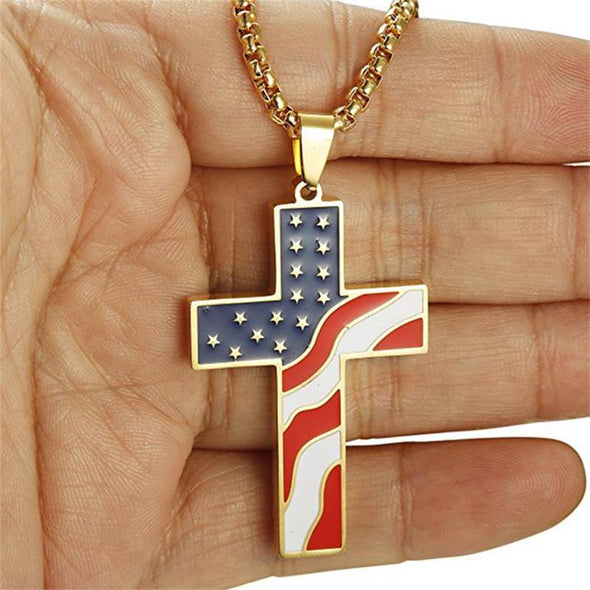 American Flag Patriotic Cross Religious Jewelry Enamel Pendant Necklace,Silver - amlion