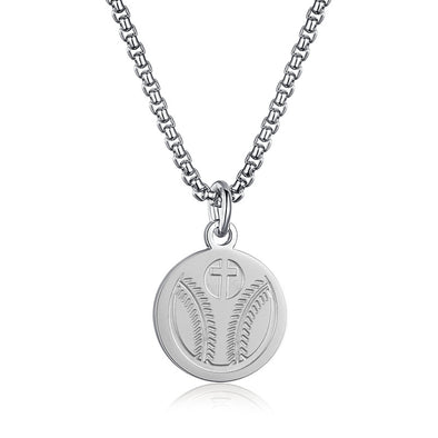 Baseball Cross Pendant Necklace,Baseball Prayer Necklace for Athletes (Sliver) - amlion