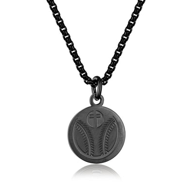 Baseball Cross Pendant Necklace,Baseball Prayer Necklace for Athletes (Black) - amlion