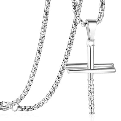 Baseball Bat Cross Pendant Necklace for Men,Stainless Steel Cross Necklaces,Silver - amlion