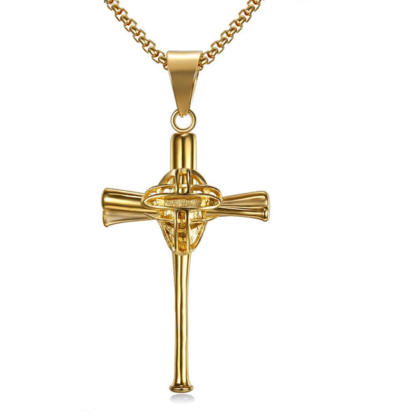 Baseball Cross Necklace Inspirational Gifts,Athletes Cross Pendant Necklace (Gold) - amlion