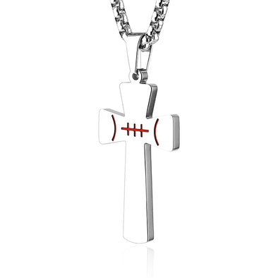Basketball Cross Pendant, PHILIPPIANS 4:13  Bible Verse Stainless Steel Necklace,Silver - amlion