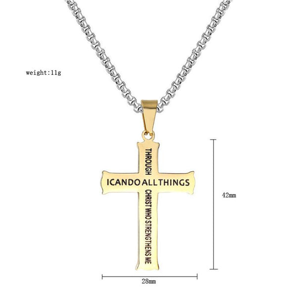 Philippians 4:13 Jewelry, Cross Necklace Strength Bible Verse, Stainless Steel Chain(Silver) - amlion