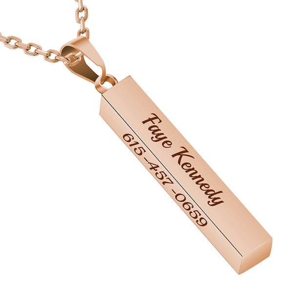 Personalized Necklace,Custom Word Necklace,Engraved  3D Bar Necklace,Rose Gold - amlion