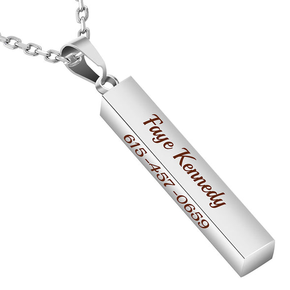 Personalized Necklace,Custom Word Necklace,Engraved  3D Bar Necklace,Silver - amlion