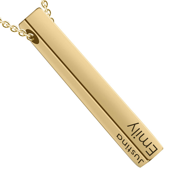 Personalized Pendant Necklace,Custom Engraved 3D Bar Necklace Key Chain,Gold - amlion