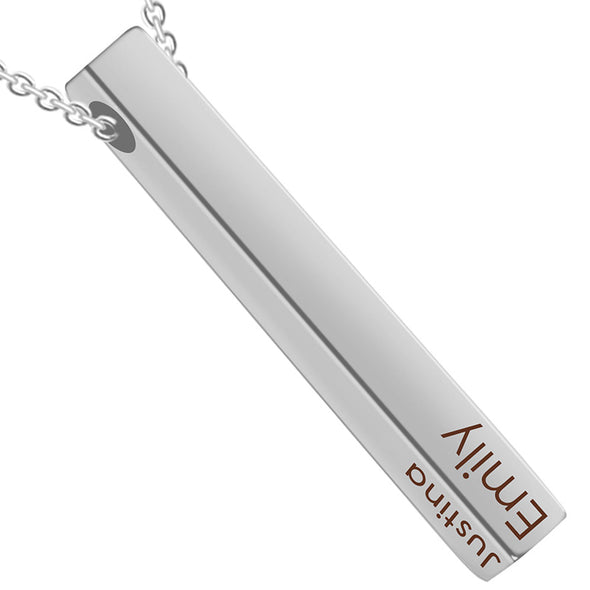 Personalized Pendant Necklace,Custom 3D Engraved Bar Necklace Key Chain,Silver - amlion