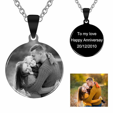Personalized Necklace, Custom Photo Necklace,Engraved Necklace Keychain, Dog Tag,Round Black - amlion