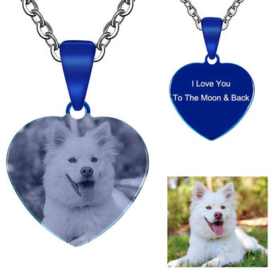 Personalized Necklace, Custom Photo Necklace,Engraved Necklace Keychain, Dog Tag,Heart Blue - amlion
