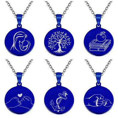 Personalized Necklace, Custom Engraved Necklace,Keychain, Dog Tag,Round Blue - amlion