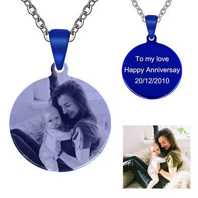 Personalized Necklace, Custom Photo Necklace,Engraved Necklace Keychain, Dog Tag,Round Blue - amlion