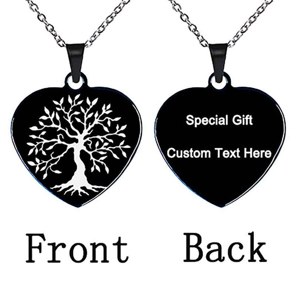 Personalized Necklace, Custom Engraved Necklace,Pendant Key Chain, Dog Tag,Black Heart - amlion