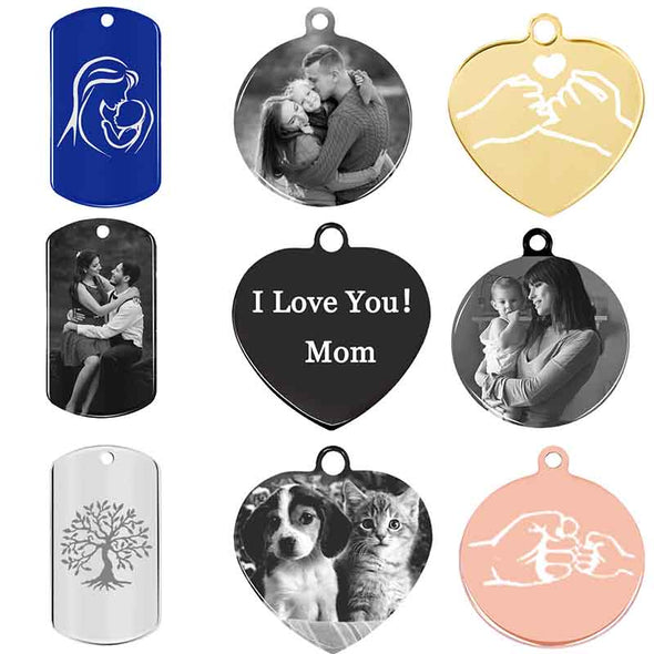 Personalized Necklace, Custom Photo Necklace,Engraved Heart Necklace Keychain, Dog Tag,Black - amlion