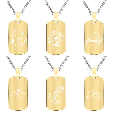 Personalized Necklace, Custom Engraved Necklace,Pendant Keychain, Dog Tag,Rectangle Gold - amlion