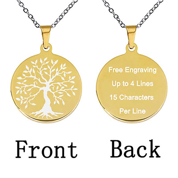 Personalized Necklace, Custom Engraved Necklace,Keychain, Dog Tag,Round Gold - amlion