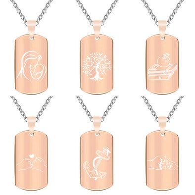 Personalized Necklace, Custom Engraved Necklace,Pendant Keychain, Dog Tag,Rectangle Rose Gold - amlion