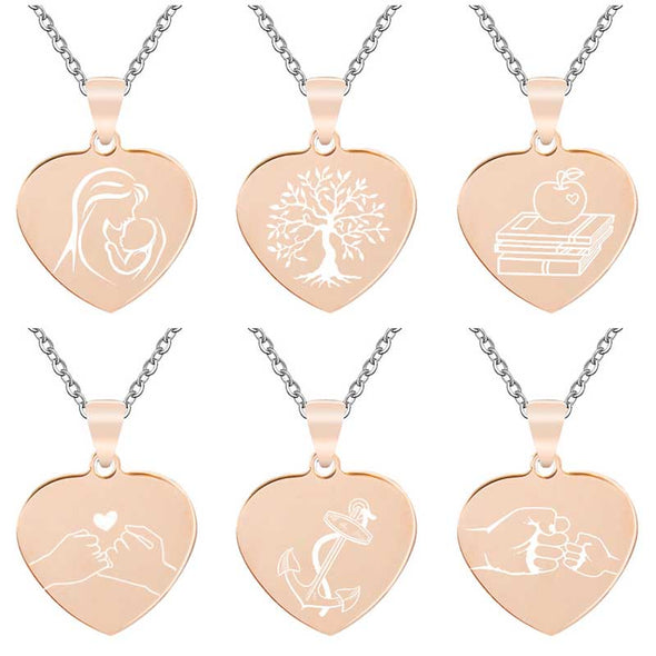 Personalized Necklace, Custom Engraved Necklace, Heart Necklace, Key Chain, Dog Tag,Rose Gold - amlion