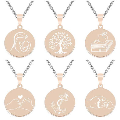 Personalized Necklace, Custom Engraved Necklace,Key Chain, Dog Tag,Round Rose Gold - amlion
