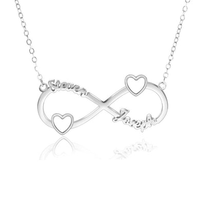 Personalized Necklace,Custom Infinity Necklace, 2Names Heart Necklaces for Women-Sliver