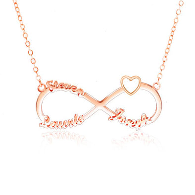 Personalized Necklace,Custom Infinity Necklace, 3 Names Heart Necklaces for Women-Rose Gold