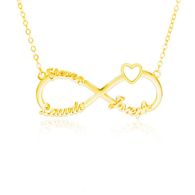 Personalized Necklace,Custom Infinity Necklace, 3 Names Heart Necklaces for Women-Gold