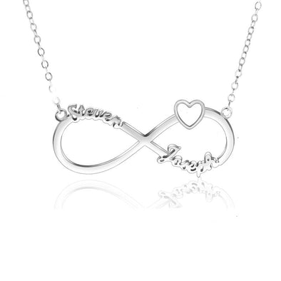 Personalized Necklace,Custom Heart Necklace, 2 Name Necklaces for Women-Silver