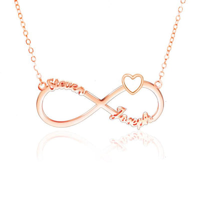 Personalized Necklace 2 Name Heart Necklaces for Women-Rose Gold