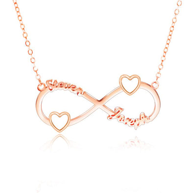 Personalized Necklace,Custom Infinity Necklace, 2Names Heart Necklaces for Women-Rose