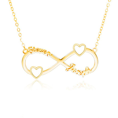 Personalized Necklace,Custom Infinity Necklace, 2Names Heart Necklaces for Women-Gold