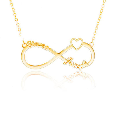 Personalized Necklace,Custom Heart Necklace, 2 Name Necklaces for Women-Gold