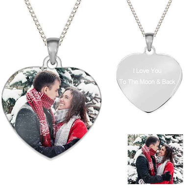 Custom Photo Heart Necklaces for Women,Keychain Ring Personalized Gifts