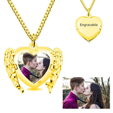 Photo Heart Necklace Angel Wings Necklaces,Custom Photo Necklace for Women -GOLD