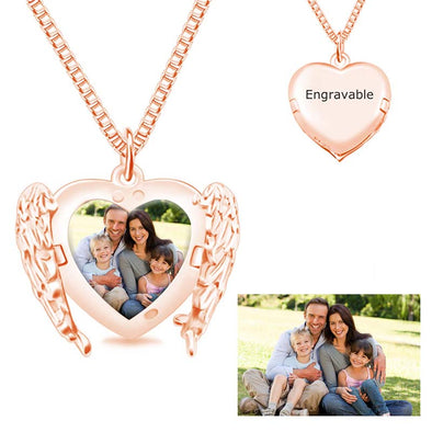 Personalized Photo Angel Wings Necklaces, Custom Heart Necklace for Women -Rose Gold